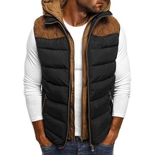 2020 Men's Autumn Winter Puffer Vest--Hooded Warm Sleeveless Jacket Gilet Patchw