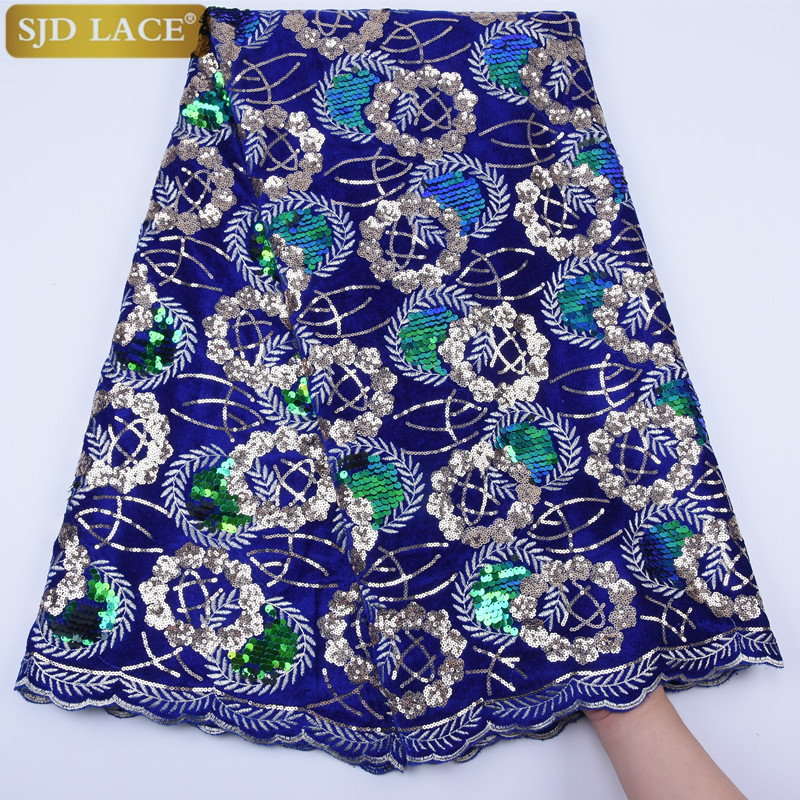 Image 2 - African Velvet Lace Fabric With Sequins Nigerian French Velvet  Lace Fabric High Quality Sequined Velvet For Wedding Dress A1753Lace