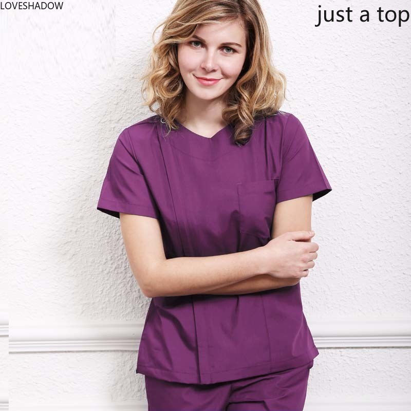 New Women Fashion Scrub Top Hidden Zipper Opening Medical Uniform Surgery Scrub Shirt Doctor Costume With Side Vent