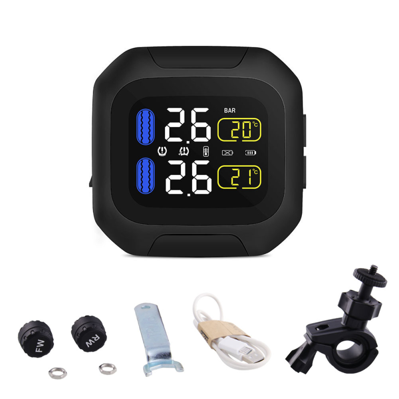 Waterproof Motorcycle Tire Temp Pressure Monitoring System TPMS Tyre + 2 Sensor Temperature Monitor Systems Motor Accessories
