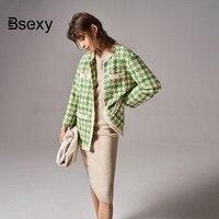 High end Winter Coat Women 2019 Luxury Runway Brand Pockets Fringe Avocado Green Plaid Long Tweed Jacket and Coat Outerwear