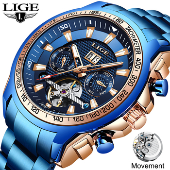 LIGE 2020 New Fashion Mens Watches Top Brand Luxury Automatic Mechanical Clock Watch Men Business Dress Wrist Reloj Hombre - discount item  90% OFF Men's Watches