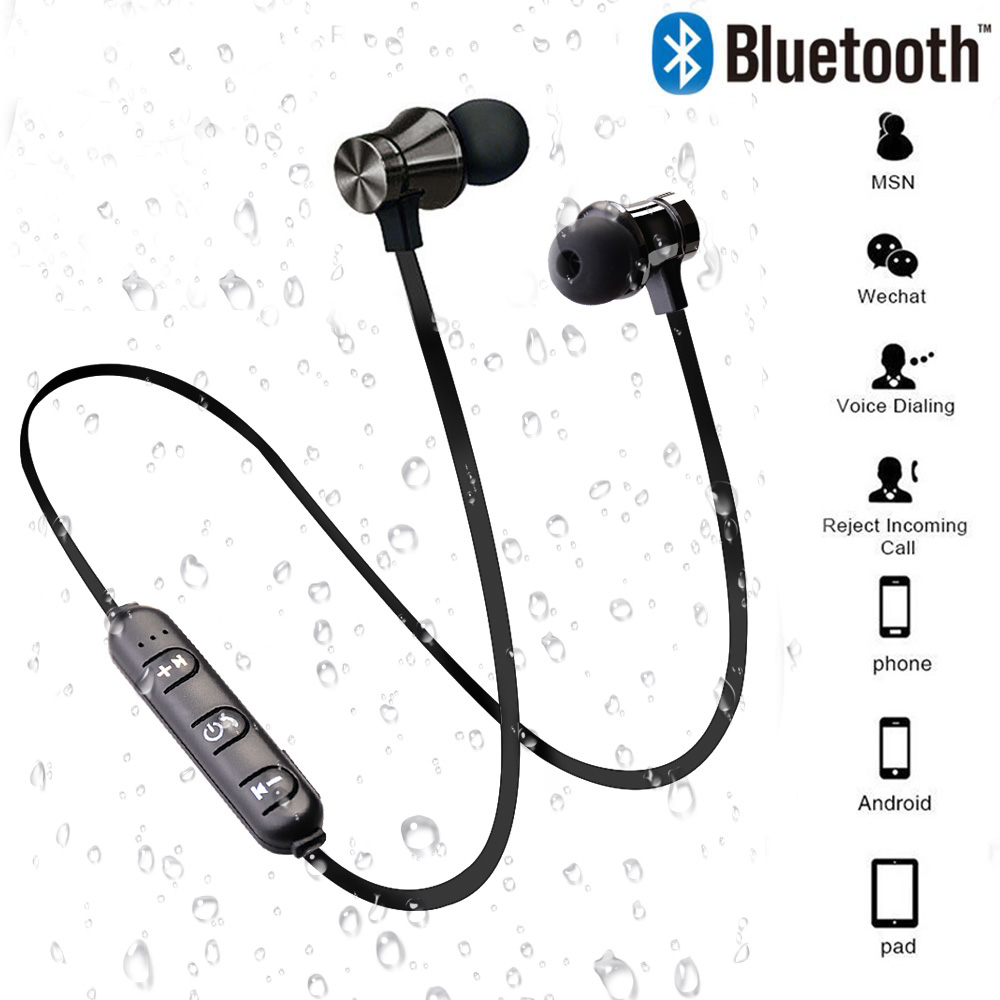 Magnetic Bluetooth Wireless Stereo Earphone Sport Headset For iPhone X 7 8 Samsung S8 Xiaomi Huawei Waterproof Earbuds With Mic-in Phone Earphones & Headphones from Consumer Electronics