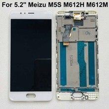 """100% тестирование, Оригинальный Новый ЖК экран + сенсорный дигитайзер с рамкой для 5,2 """"Meizu M5S meilan, M612H, M612M, белый/черный"""
