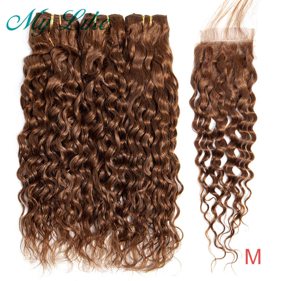 My Like Color 30 Brown Water Wave Bundles with Closure Brazilian Hair Weave 3 Bundles Non-remy Human Hair Bundles with Closure