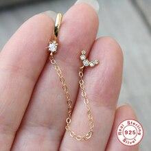 Chain 925-Sterling-Silver GS Stud-Earrings Jewelry Lovers' Women Handcuff European Punk