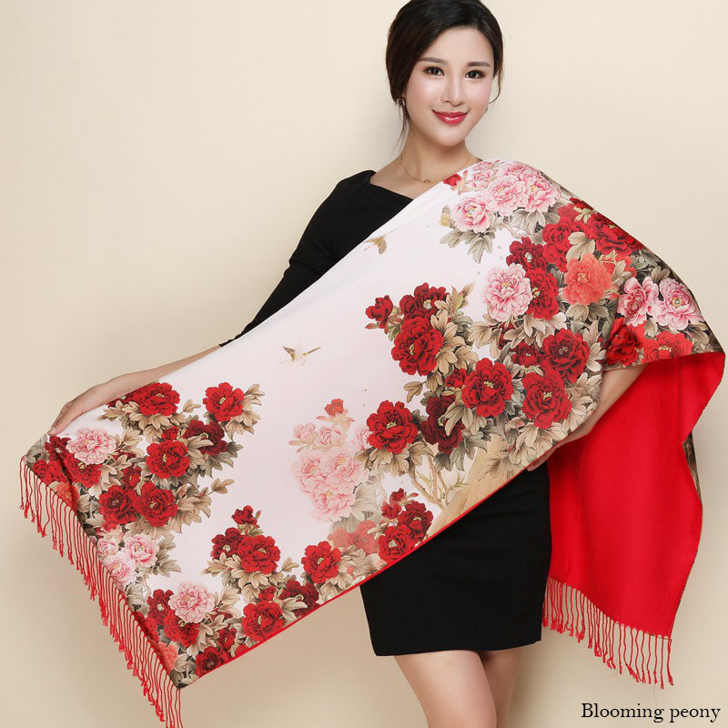 2019 Winter Warm Double Sides Cashmere Scarf Women Long Pashmina Tippet Female Shawls And Wrap Foulard Femme Floral Silk Scarves