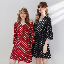 AcFirst Autumn Lanon Women Dresses Red Chiffon A-Line Dress Evening Party Dots Mini Lady Holiday Sexy Sweet