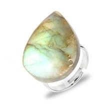 Women Men Natural Flat Labradorite Moonstone Finger Rings Irregular Gem Stone Copper Open Adjustable Joint Ring Jewelry