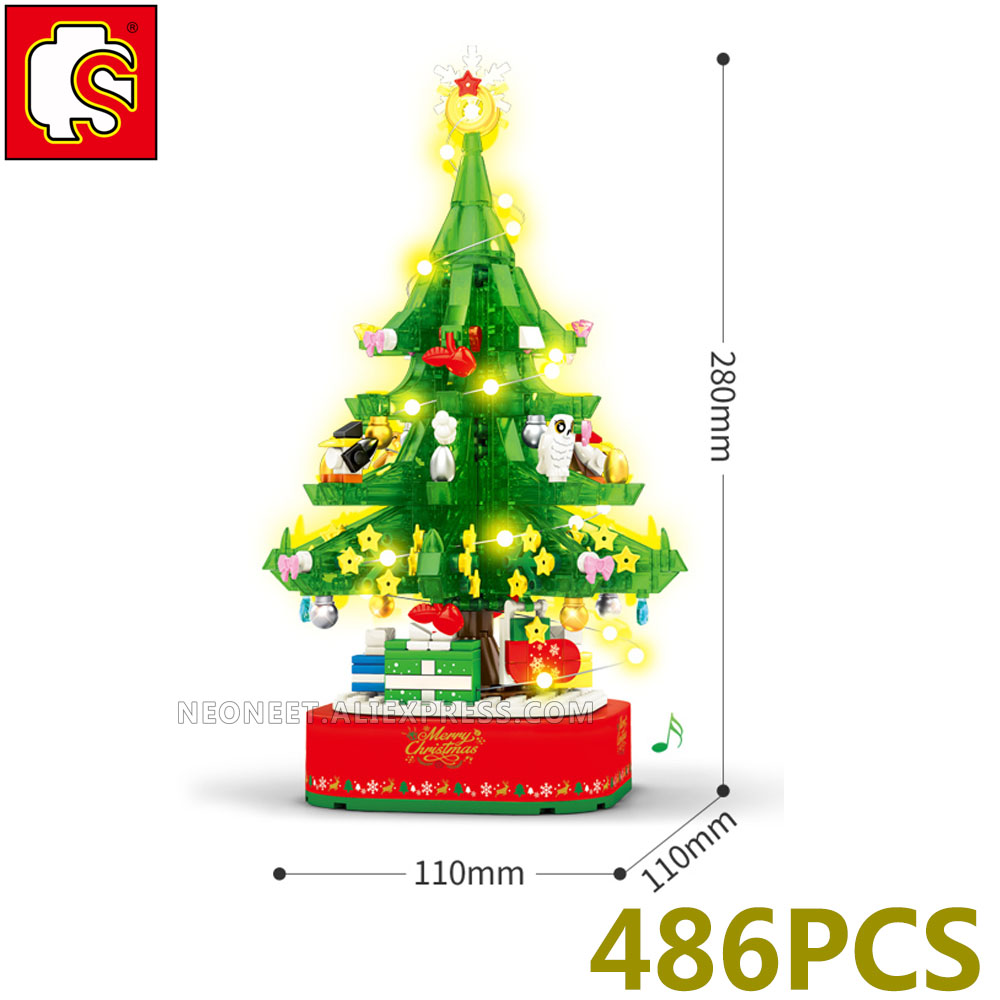 Sembo Block Christmas Tree Reindeer House Model Sets Building Bricks Toy Santa Musice Box New Year Fit MiniFigures