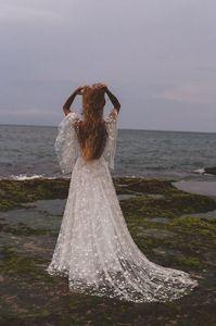 Image 2 - Beach Wedding Dress 2020 Shiny Stars A line Boho Bridal Dress Backless Summer Bridal Gowns