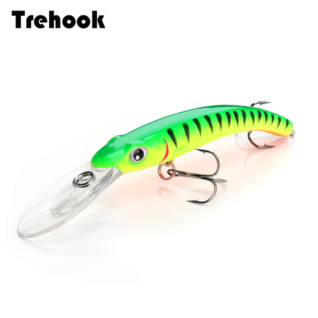 TREHOOK דגיג דיג פתיונות Wobblers עבור חכות/פייק דיג 10cm 9.5g צף מזויף/קשיח פיתיונות שחור מינאו פיתוי פורל