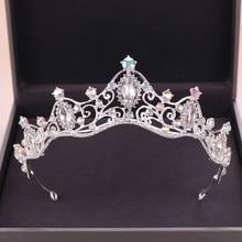 Trendy Wedding Crown Silver Color Baroque Rhinestone Crystal Bridal Headpiece Jewelry Prom hair Accessories