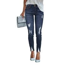 Пикантные джинсы со средней талией 2020 женские узкие с эффектом