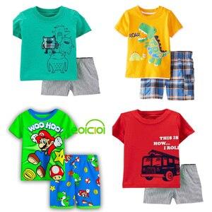 summer Kids pajamas for Girls Boys clothes cotton short sleeve girls pyjamas sets Animal Dragon Cat Children Clothing 2-7Y(China)