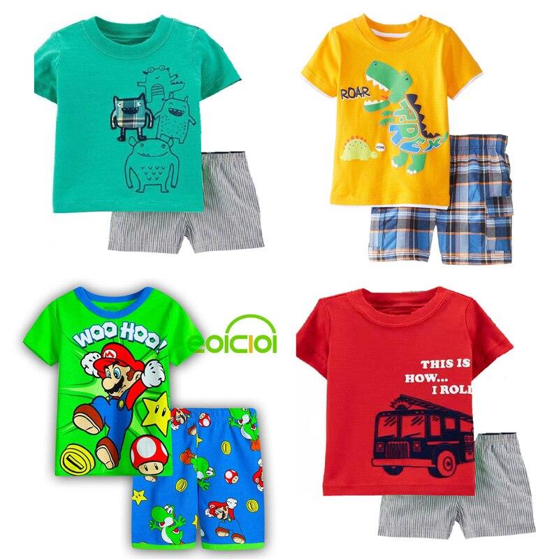 summer Kids pajamas for Girls Boys clothes cotton short sleeve girls pyjamas sets Animal Dragon Cat Children Clothing 2-7Y