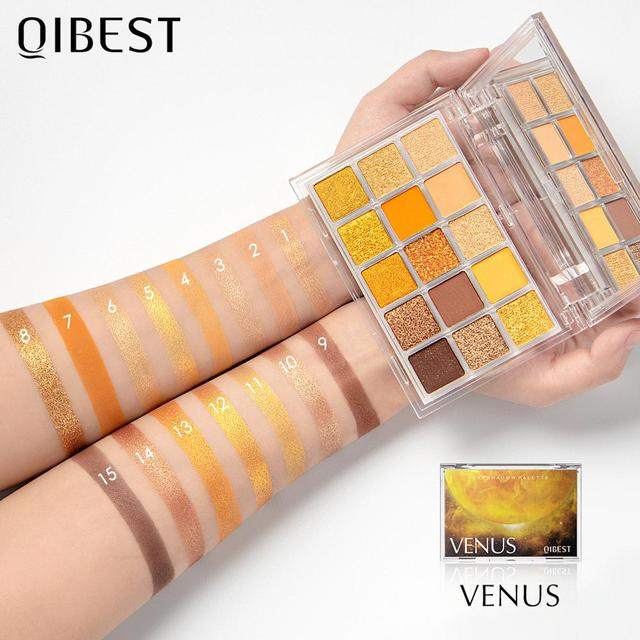 QIBEST Glitter Eyeshadow Palette 15 Colors Planet Holographic Pigment Matte Shimmer Eye Shadow Powder Shiny Eye Makeup Pallete 6