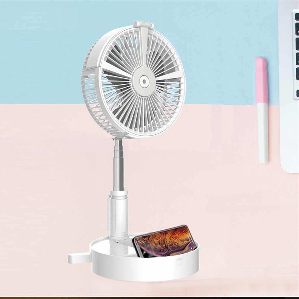 Nieuwe Folding Telescopische Mini Fan Usb Oplaadbare Student Draagbare Kleine Elektrische Slaapzaal Bed Office Desktop Grote Wind Batterij