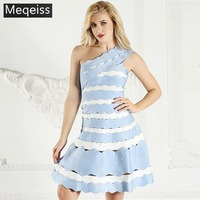 2019 Summer Striped Ladies Dresses One Shoulder Bandage Dress With Open Back Knee Length club Sexy Party Dress Women wholesale