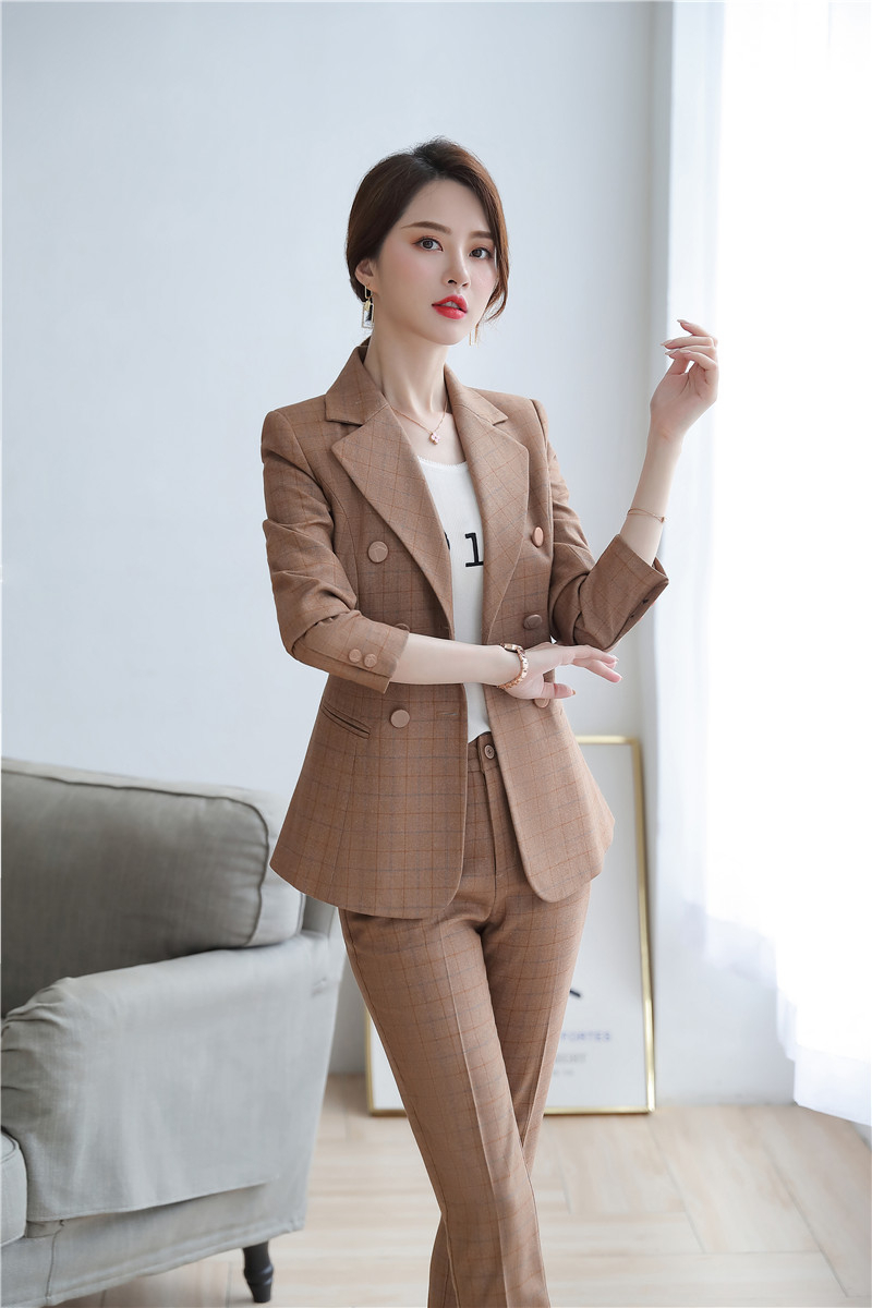 High Quality Fabric Novelty Pink Plaid Business Suits With Jackets and Pencil Pants Ladies Work Wear Blazers Pantsuits with Belt 24
