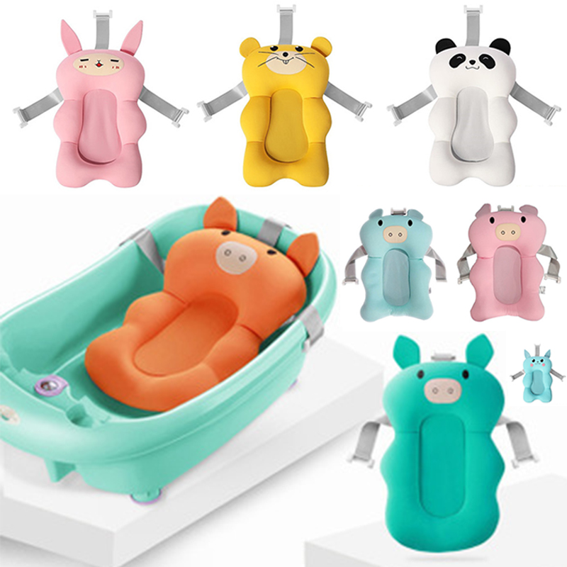 Newborn Safety Security Baby Bath Seat Infant Bath Pad Non-Slip Baby Shower Portable Bath Support Cushion Foldable Soft Pillow