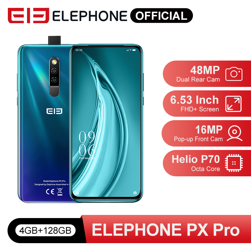 Pre Sale PX Pro Mobile Phones 4GB 128GB Helio P70 Octa Core 6.53'' FHD+ 48MP Rear Cam 16MP <font><b>Pop</b></font>-<font><b>up</b></font> Front Cam Wireless Charge NFC image