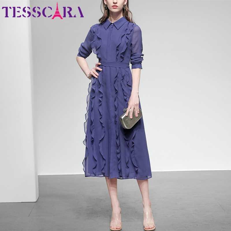 Tesscara女性春夏エレガントなシフォンドレスシャツ高品質オフィスカクテルパーティーローブフェムセクシーフリルデザイナーvestidos