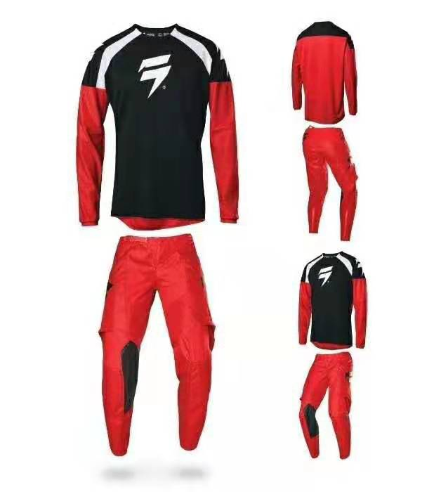 Locomotive MTB Bike Off-road Motorcycle Gear Set Motocross Suit Motorbike Kit Black Red