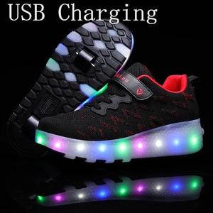 Новинка, розовый, USB зарядка, модный светодиодный светильник для девочек и мальчиков, обувь для катания на роликах, детские кроссовки с колес...