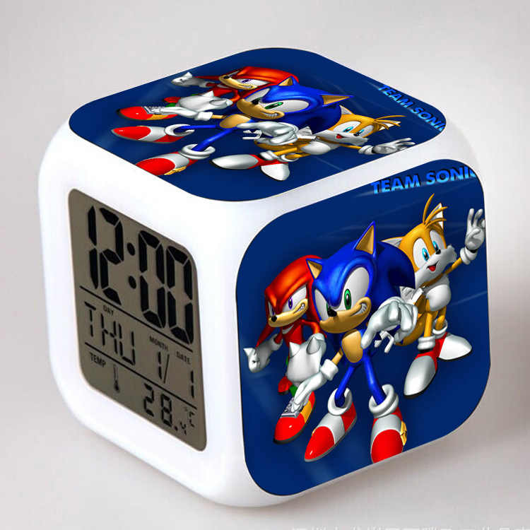 Anime Sonic The Hedgehog LED Alarm Clock Flashing Colorful Touch Lights Sonic clock Christmas Gift Toys for Children