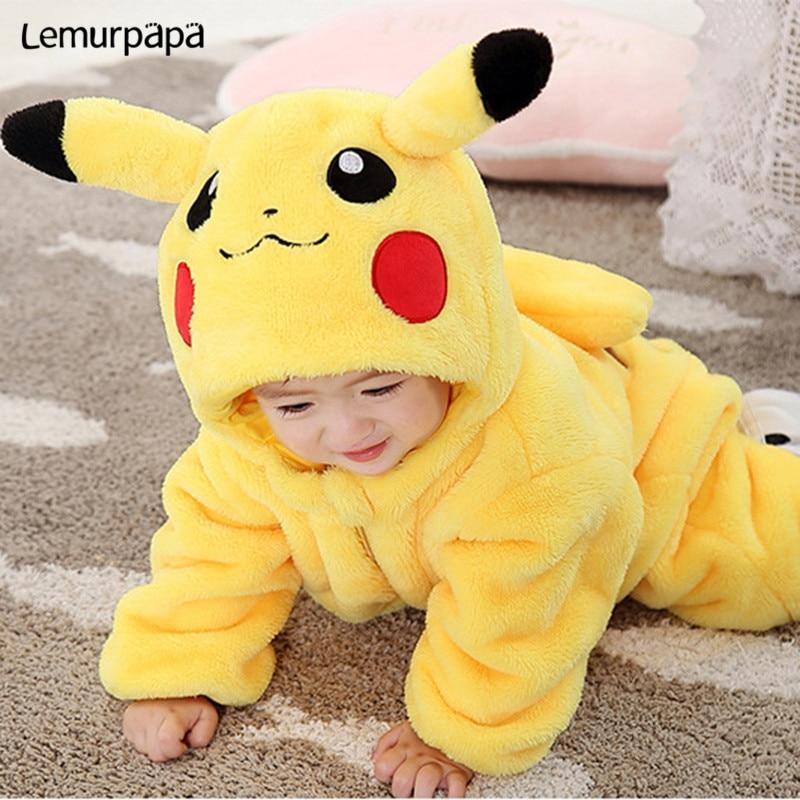 Pijama Pokemon Pika Onesie Baby Girl Boy Romper Cartoon Newborn Jumpsuit funny cute Pajama Zipper Kid