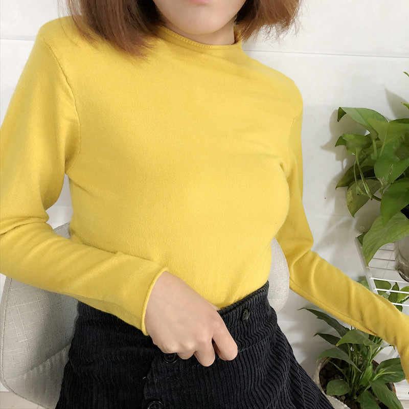 스웨터 여성 절반 터틀넥 풀오버 솔리드 컬러 봄 가을 europes 아메리칸 스타일 여성 스웨터 vestidos lxj654