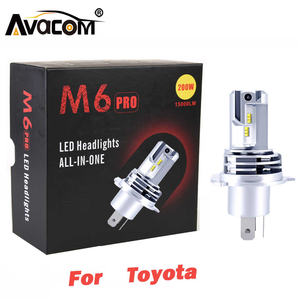 Avacom llevó la luz del coche H4 H7 faro 12V ¿Es 6500K 15000Lm 200W Auto bombilla DRL luces antiniebla para Toyota Corolla/Camry/Rav4/Yaris/MR2