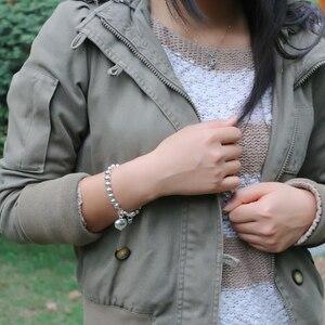 Image 3 - Fashion 100% 925 sterling silver Heart Bracelet Women solid silver Hand catenary Girl simple ball bracelet Charm Fine Jewelry