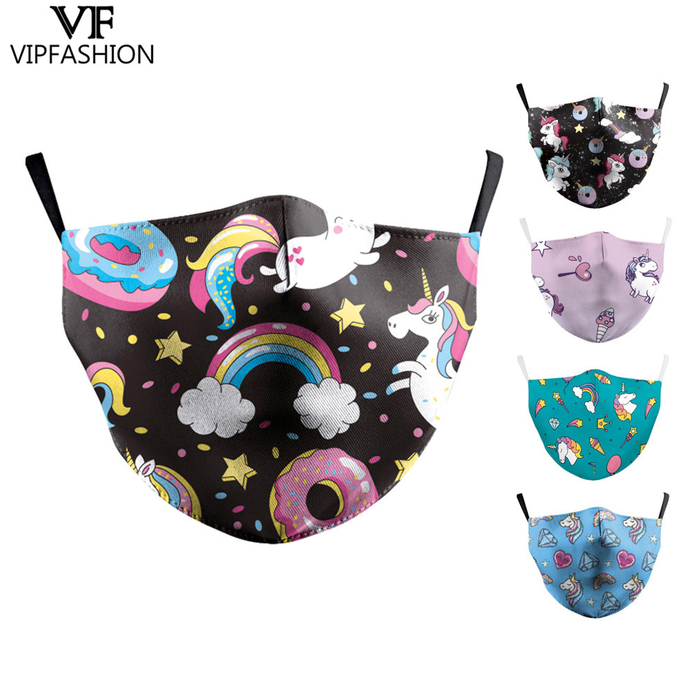 VIP FASHAION 2020 Unisex Adults Cotton Face Mouth Cute Cartoon Unicorn 3D Printed Face Mask Dustproof Mouth Cover Washable