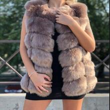Новинка, Женский импортный жилет из искусственного лисьего меха, серебряное пальто, теплый меховой жилет, куртка, высококачественный жилет из искусственного меха, Женское зимнее пальто, верхняя одежда