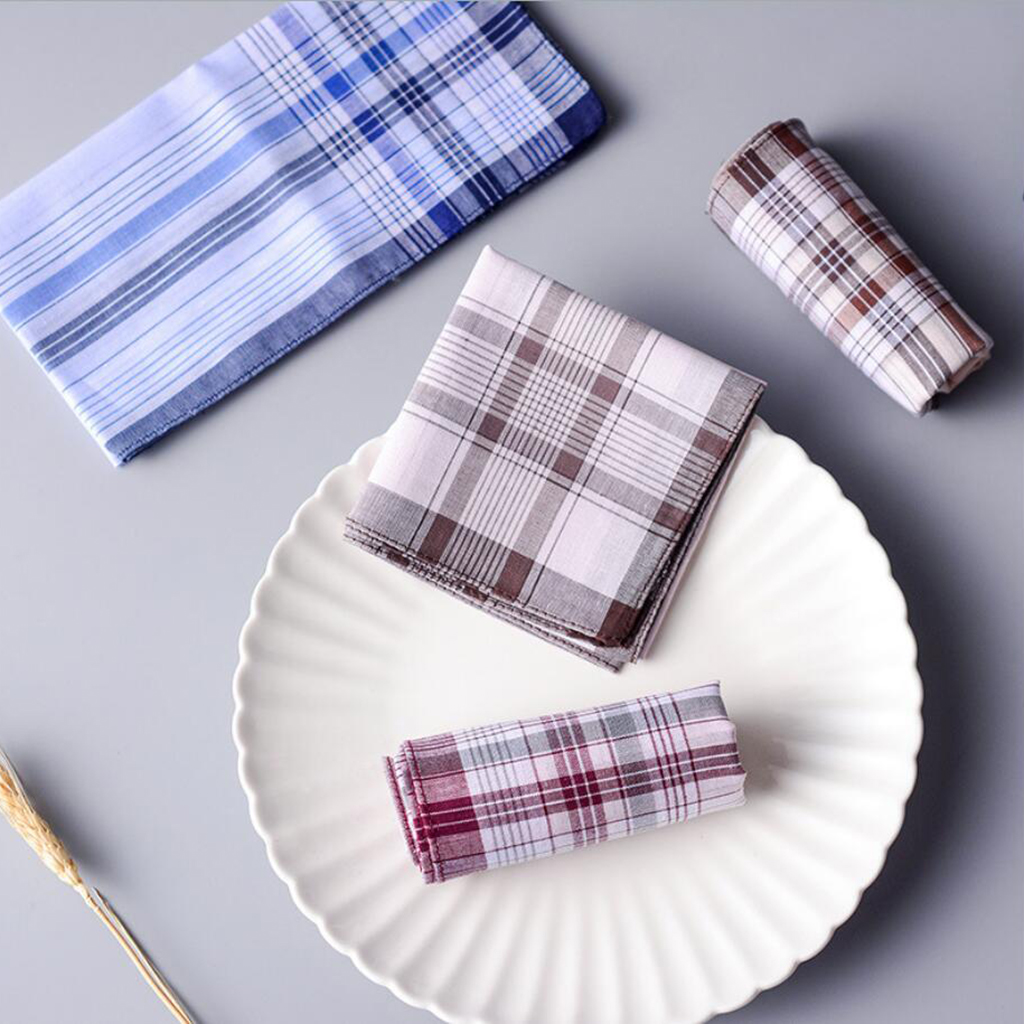 43cm*43cm Classic Pattern Plaid Stripe Men Pure Cotton Square Handkerchief