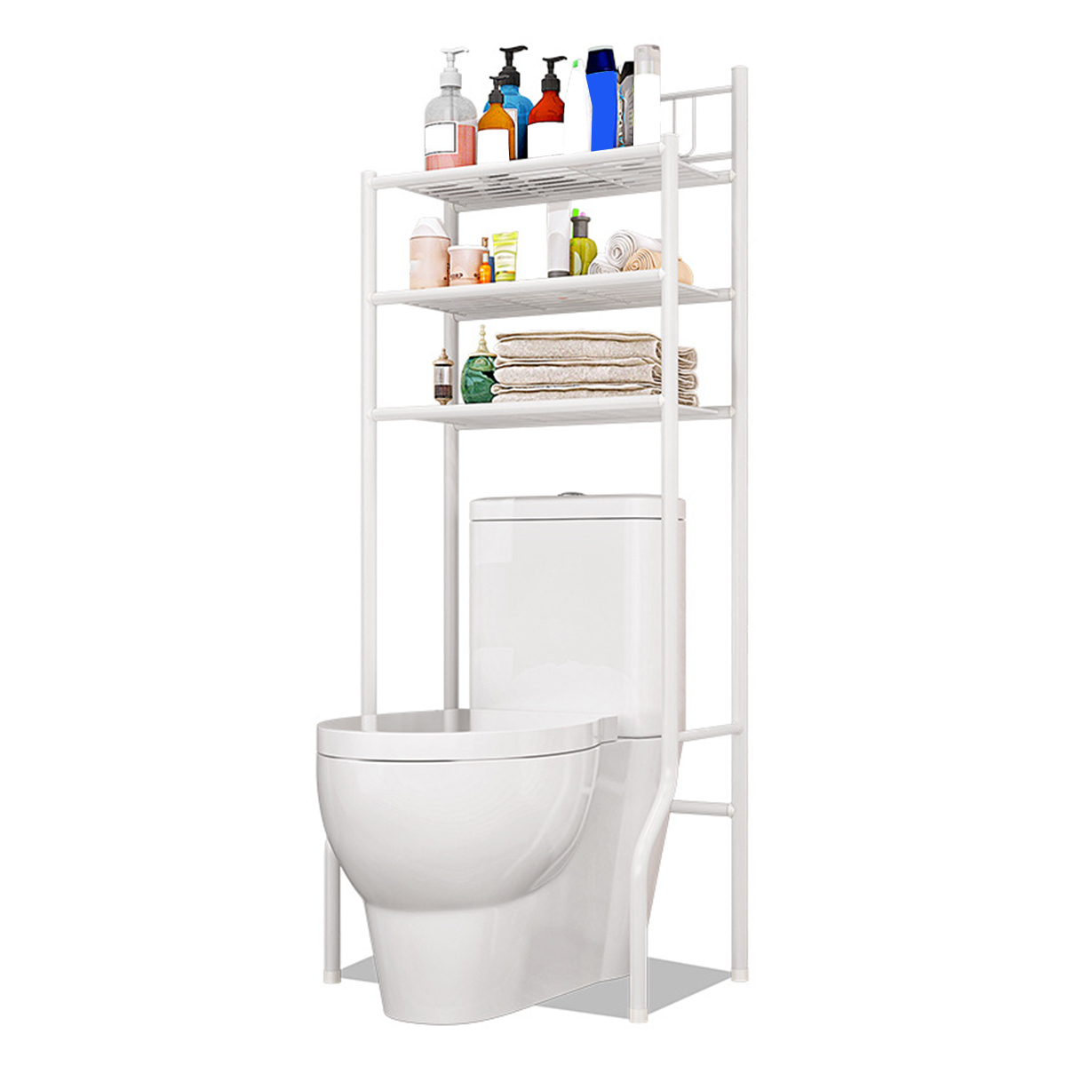 3 Floors The Toilet Storage Rack Bathroom Organizer Shelf With Towel Bars Simple Assembly Space Saver Organizer Holder Shelves