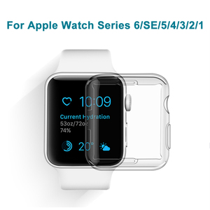 Transparent Case For Apple Watch Series 6 SE 38MM 44MM 360 Full Clear Soft TPU Screen Protector For Iwatch Cover 5 4 3 40MM 42MM