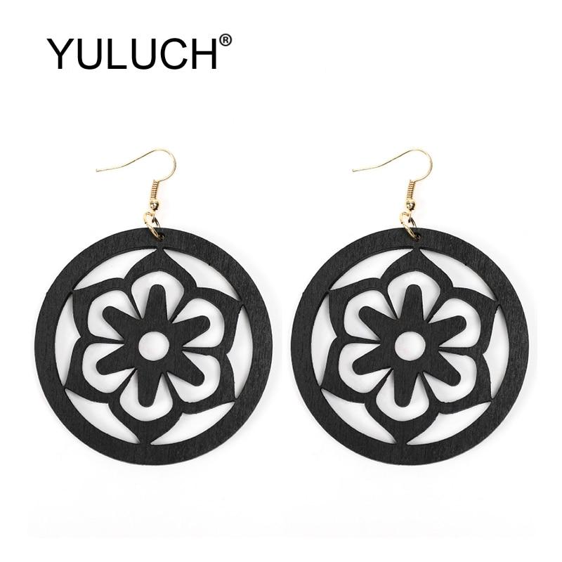 YULUCH Round Wood Hollow Flower Dangle Earrings Fashion Jewelry For Women Wedding Party Persoanlity Black Red Wood Drop Earrings