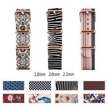 Premium Nylon Zulu Nato Strap 18mm 20mm 22mm Canvas Belt Watch Strap Men Women Colorful Printed Watchband Global Free Shipping