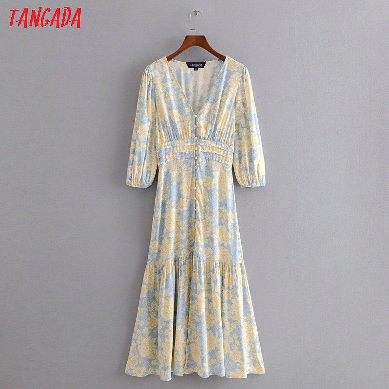 Tangada модное женское желтое платье миди с цветочным принтом, с коротким рукавом и пуговицами, женское элегантное винтажное платье с v-образны...