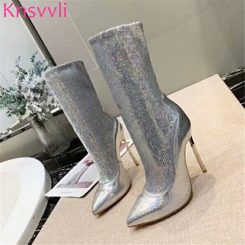Knsvvli New Sequins Gold Ankle Boots For Women Ponted toe Stiletto Elastic Sock Boots Autumn Bling Bling High Heels Botas Mujer - 3