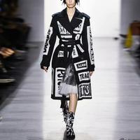 Windbreaker jacket 2019 autumn and winter new women's lapel long sleeve letter printing double breasted windbreaker jacket