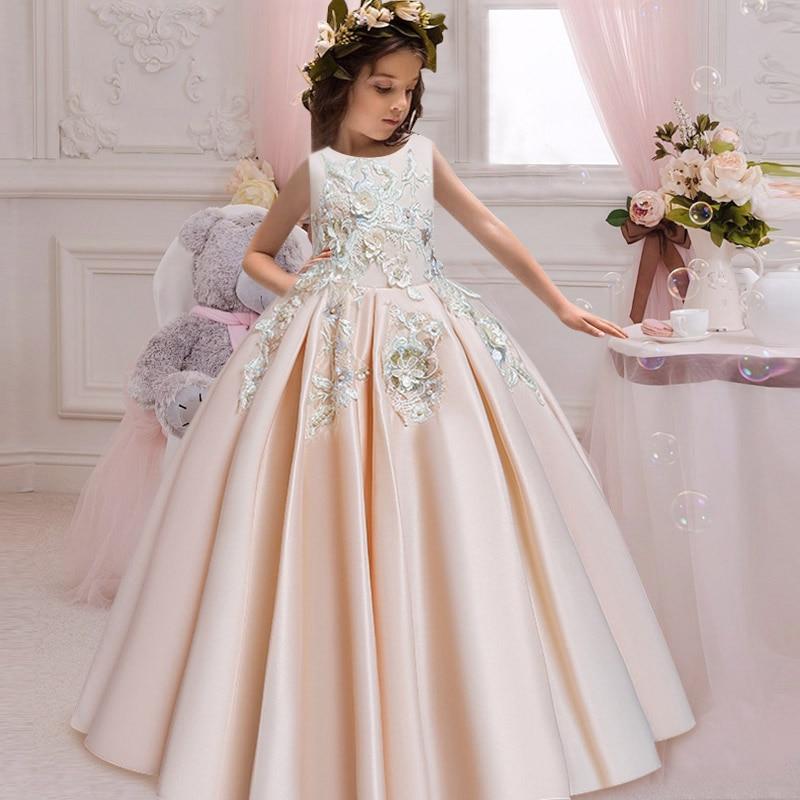 Новое кружевное свадебное платье цветок галстук-бабочка для девочки теннис вечерние банкет вечерние шоу Бальное Платье vestidos de fiesta - Цвет: champagne