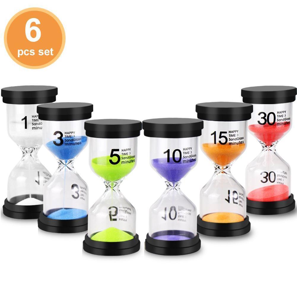 6 Pcs/Set 1/3/5/10/15/30min Sand Clock Sandglass Hourglass Timer School Kids Game Office Desktop Decor Collection DIY Supplies