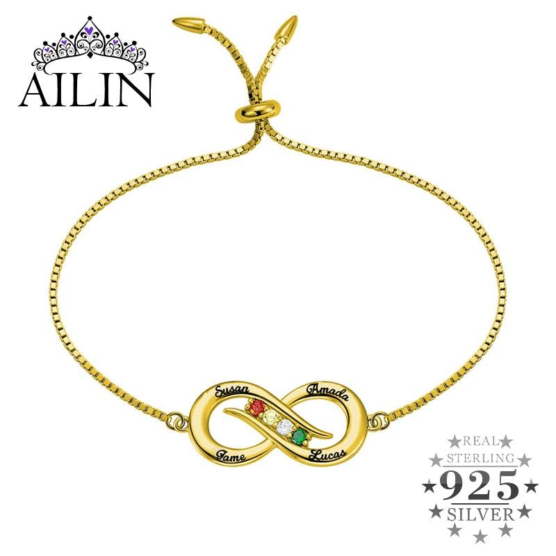 AILIN Infinity Name Bracelet Femme 925 Silver Custom Jewelry Personalized Nameplate Charm with Birthstone