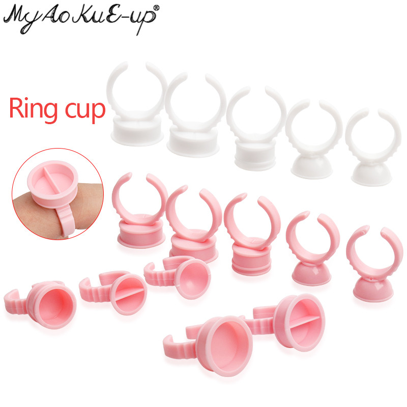 Disposable Glue Holder Ring Cups For Eyelashes Extension Tattoo Pigment Holder Pallet Adhesive Glue Holder Palette Container