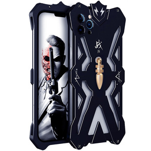 Image 1 - Luxury Armor Metal Aluminum CNC technology manufacturing Cover For iphone 12 PRO MAX mini case Bullet Bracket Phone shell
