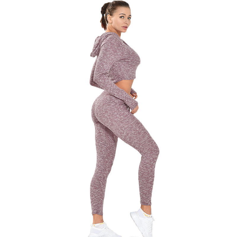 Europe And America Hot Selling Sexy Navel Fitness Suit Two-Piece Set Female Sports Quick-Dry Slimming Training Suit Yoga Jogging